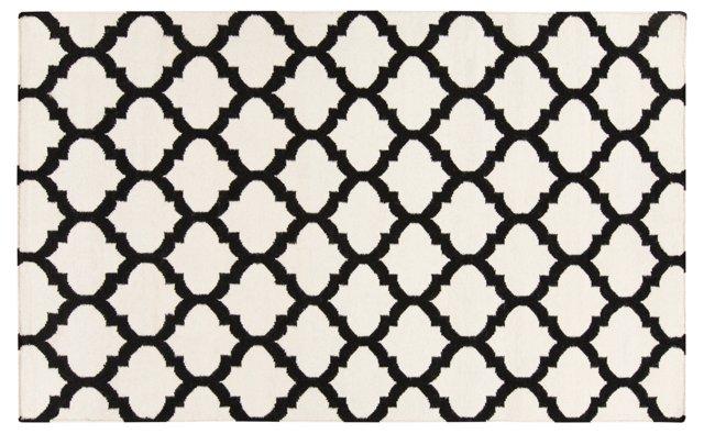 Laurel Flat-Weave Rug, Black