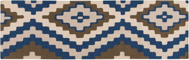 "2'6""x8' Alecto Flat-Weave Runner, Blue"