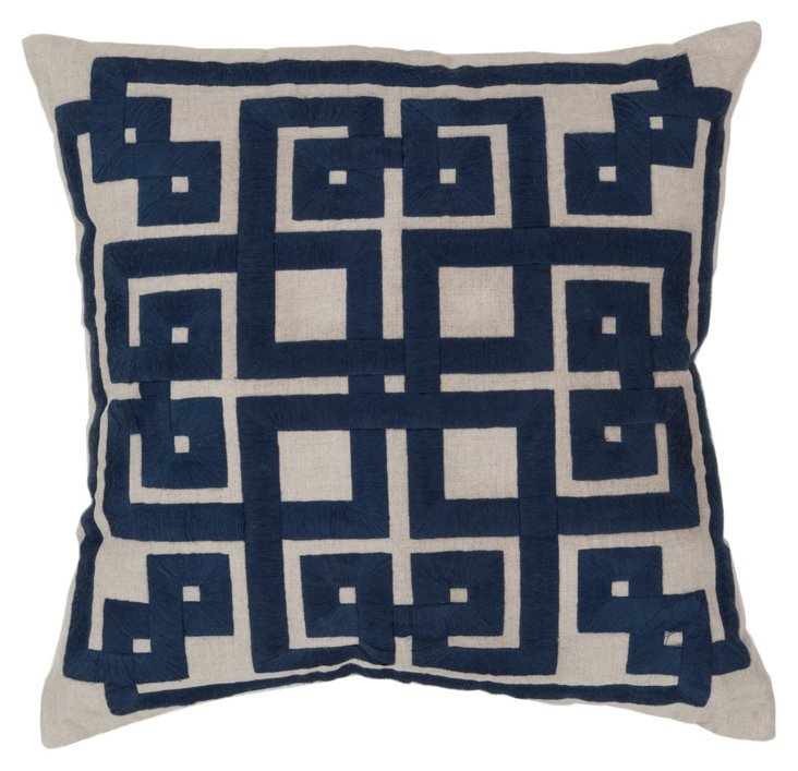 Geo Embroidered Pillow, Blue