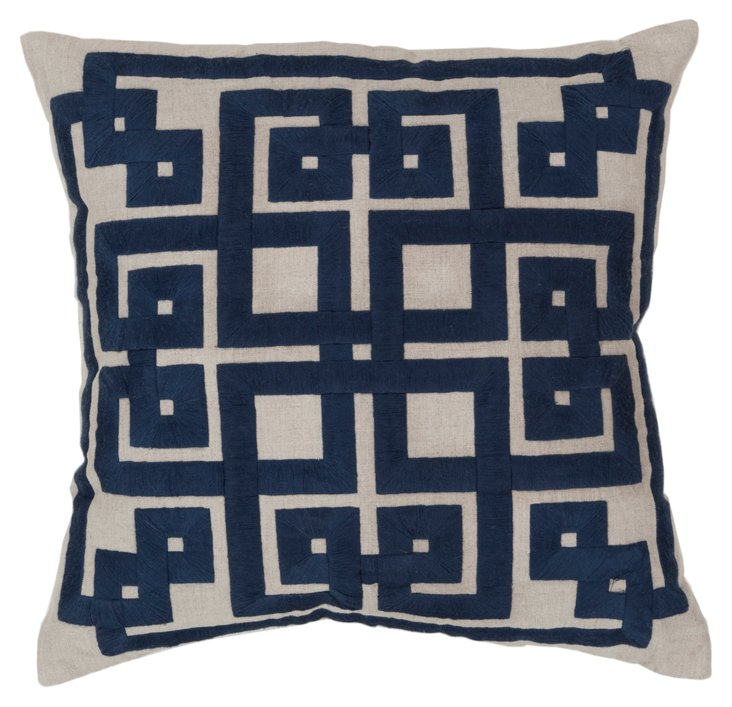 Geo 22x22 Embroidered Pillow, Blue