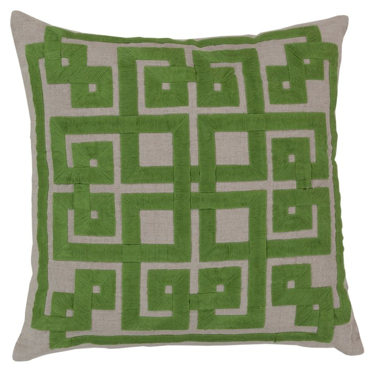 Palace Embroidered Pillow, Green