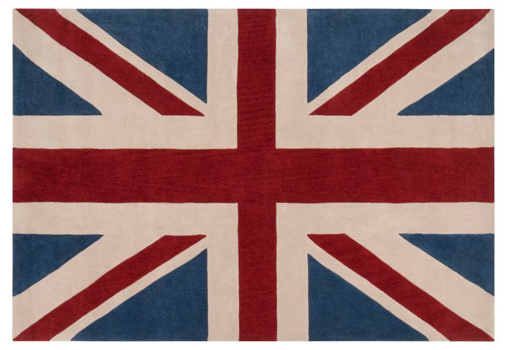 8'x11' Union Jack Rug, Brick Red