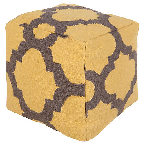Everett Pouf, Yellow/Charcoal