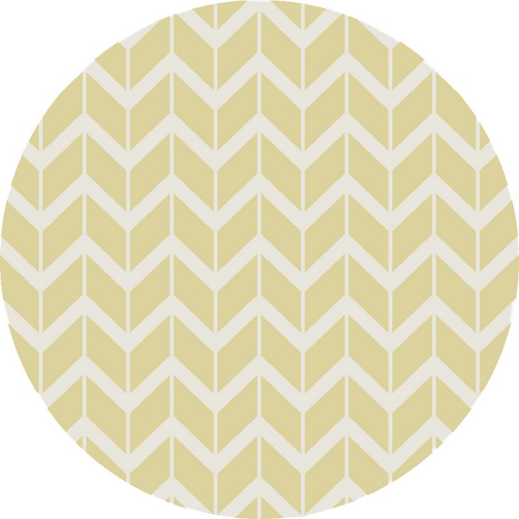 8' Round Haven Flat-Weave Rug, Pear/Whit