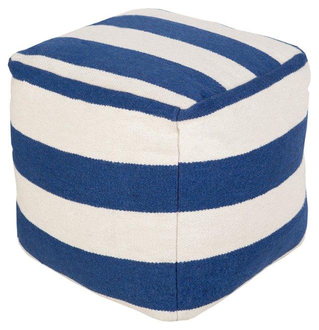 Bianca Wool Pouf, Blue/White