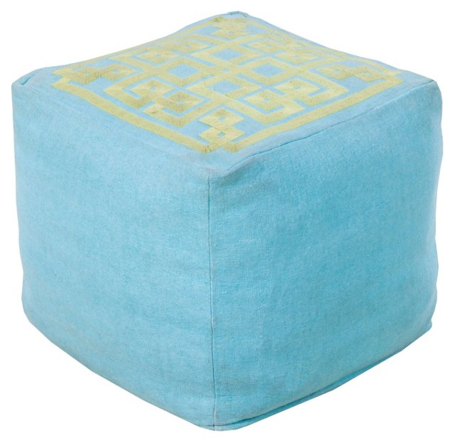 Wylie Geometric Pouf, Turquoise/Green