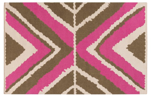 Natalie Flat-Weave Rug, Magenta/Multi