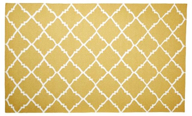 Athena Flat-Weave Rug, Gold/White