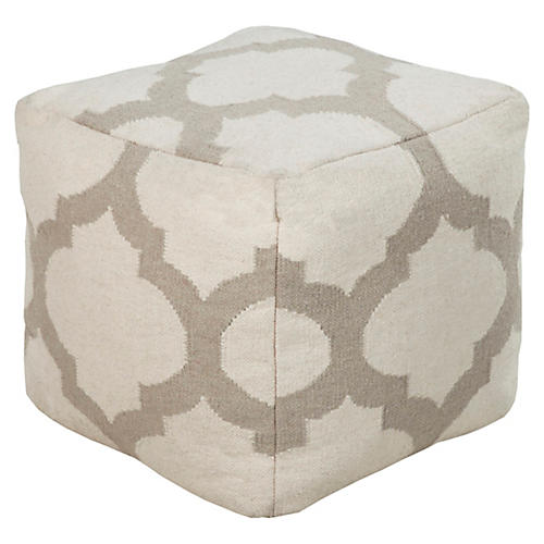 Everett Pouf, Taupe/Ivory