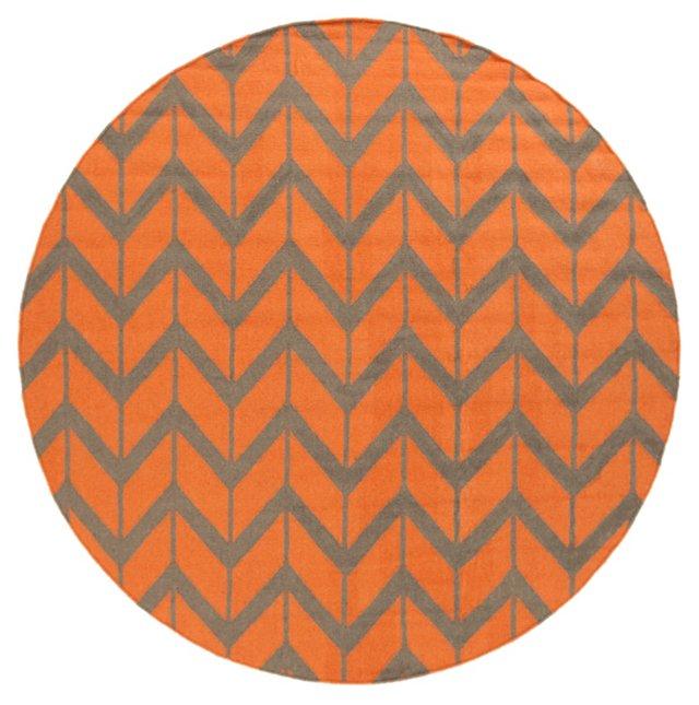 8' Round Haven Flat-Weave Rug, Burnt Ora