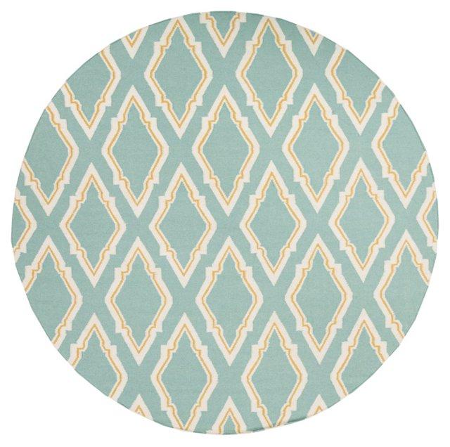8' Round Zeus Flat-Weave Rug, Blue