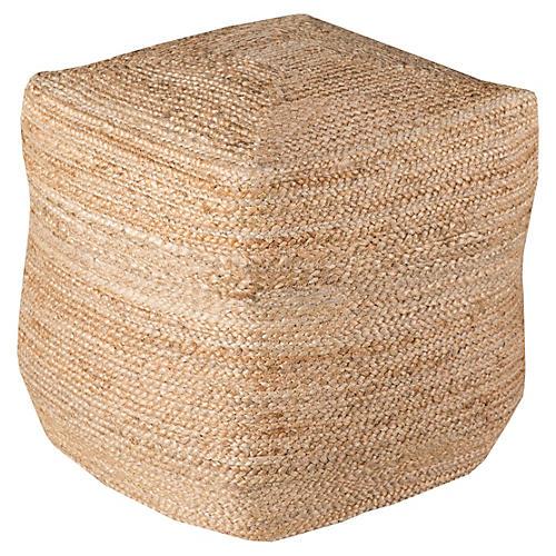 Teddy Woven Cube Pouf, Jute