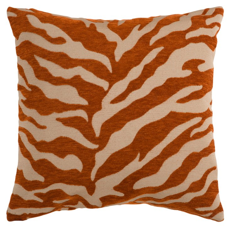 Zebra 22x22 Pillow, Rust