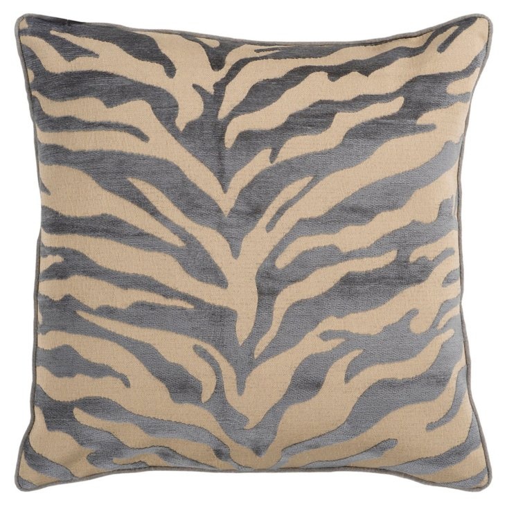 Zebra 18x18 Pillow, Gray