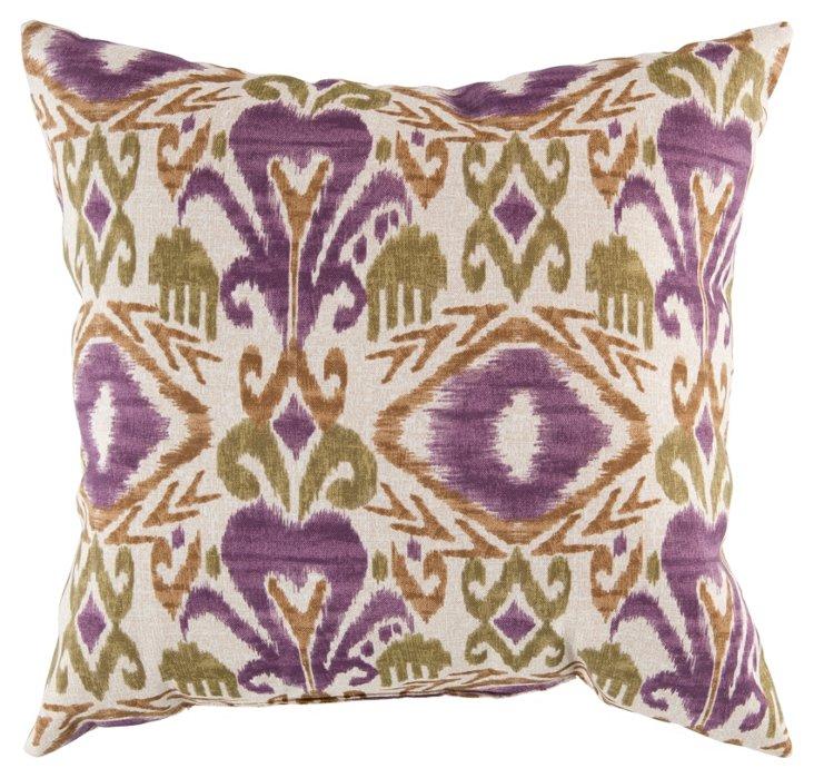 Henna 18x18 Pillow, Green/Purple