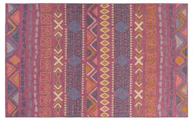 Valles Flat-Weave Rug, Mauve