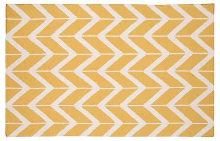 8' Round Haven Flat-Weave Rug, Golden
