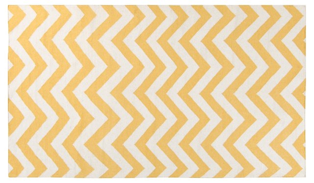 Evie Flat-Weave Rug, Old Gold