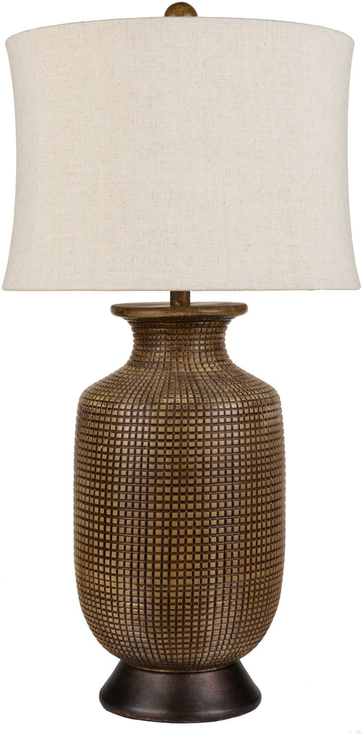 Linen Textured Lamp, Wood Tone