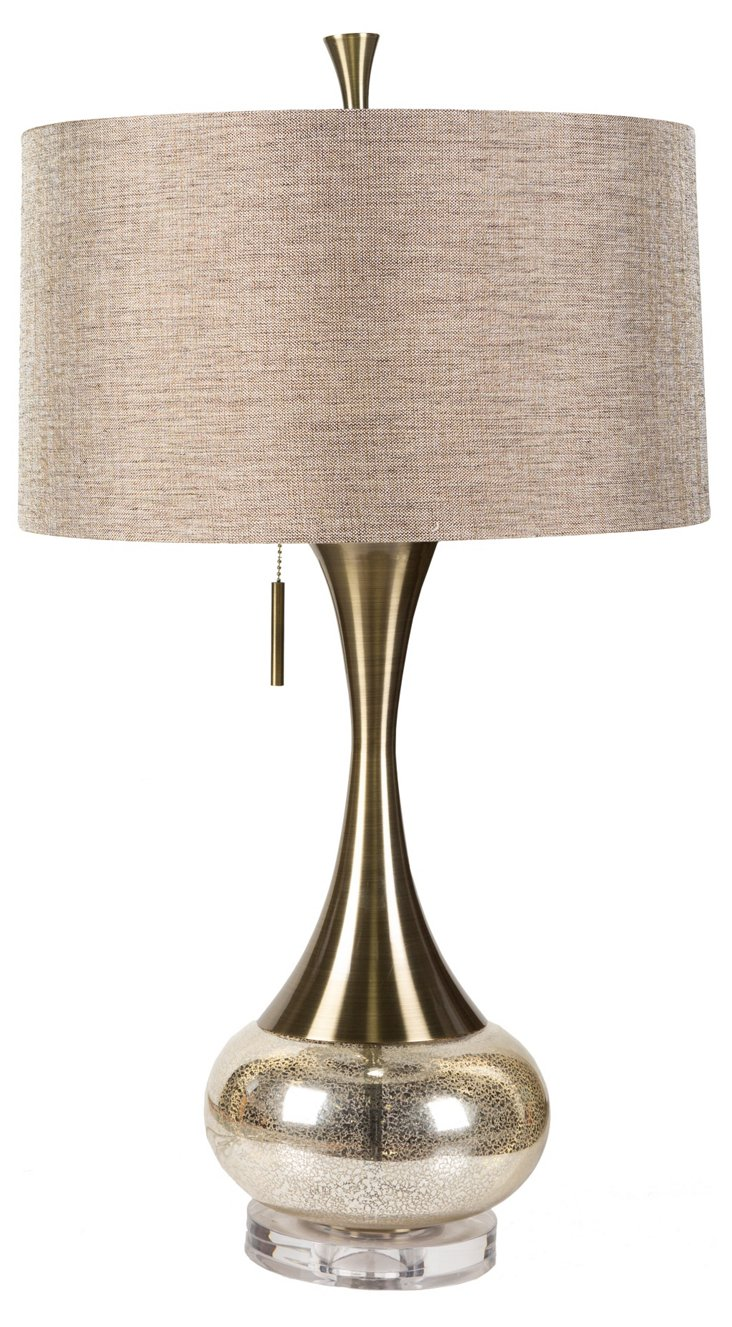 Twin Drop Table Lamp, Mercury Glass