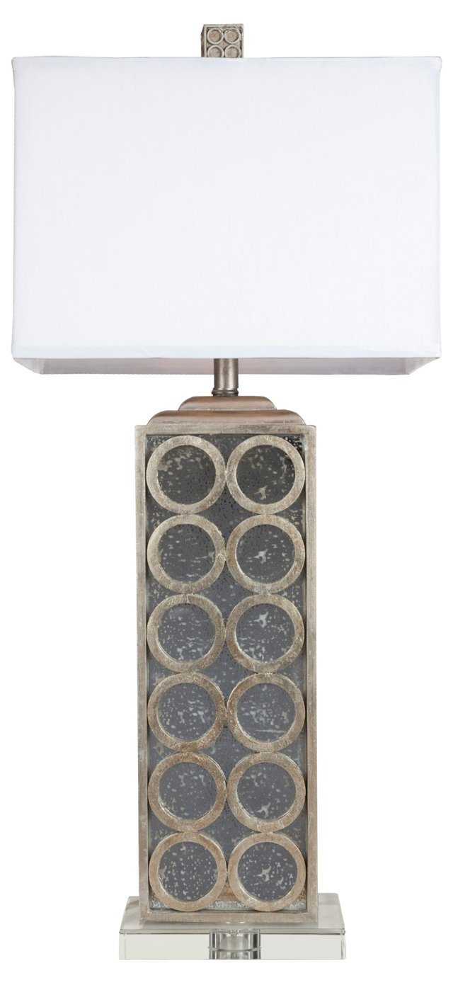Medallion Table Lamp, Silver Leaf