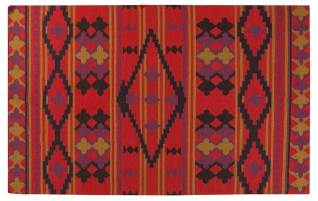 Greene Flat-Weave Rug, Vermillion