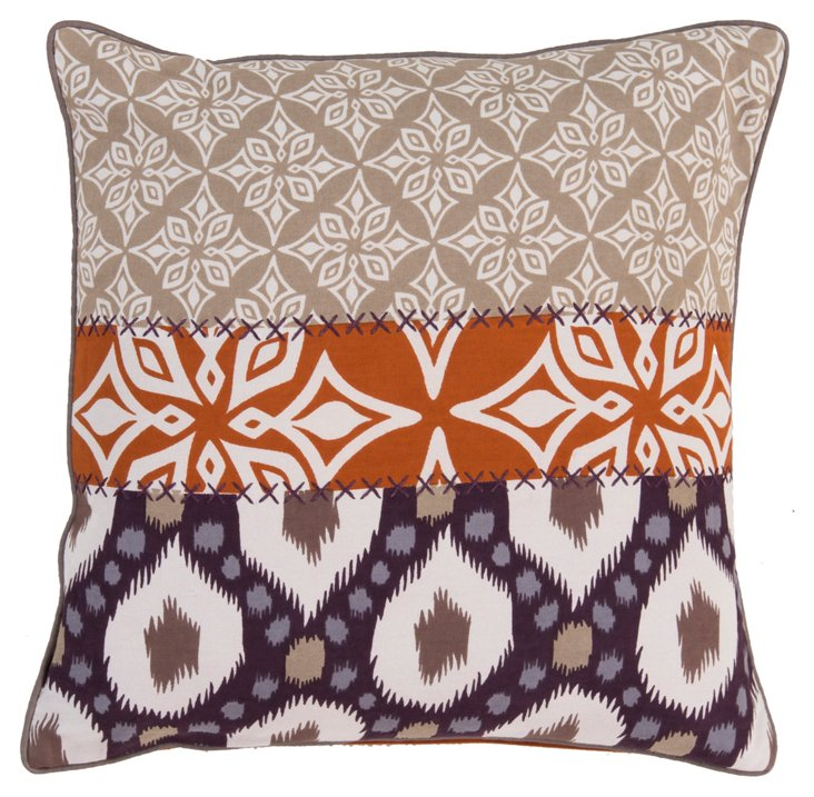 Patchwork 20x20 Cotton Pillow, Multi