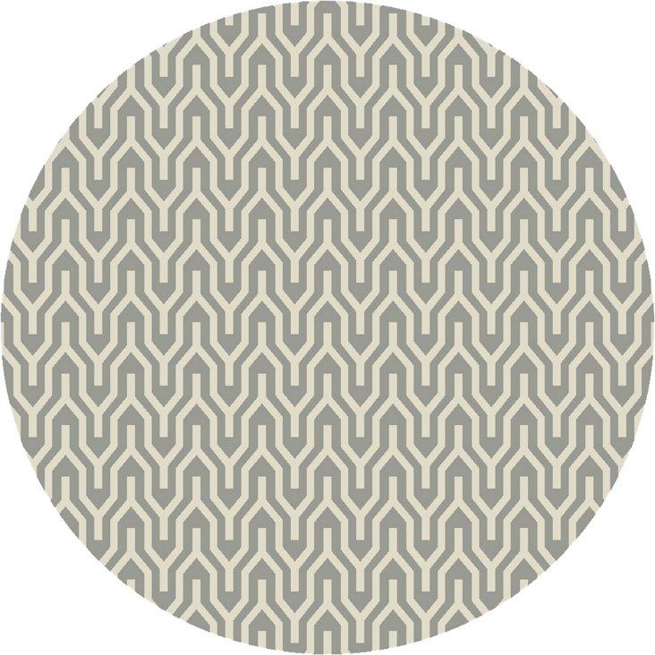 8' Round Aynsley Flat-Weave Rug, Dove Gr