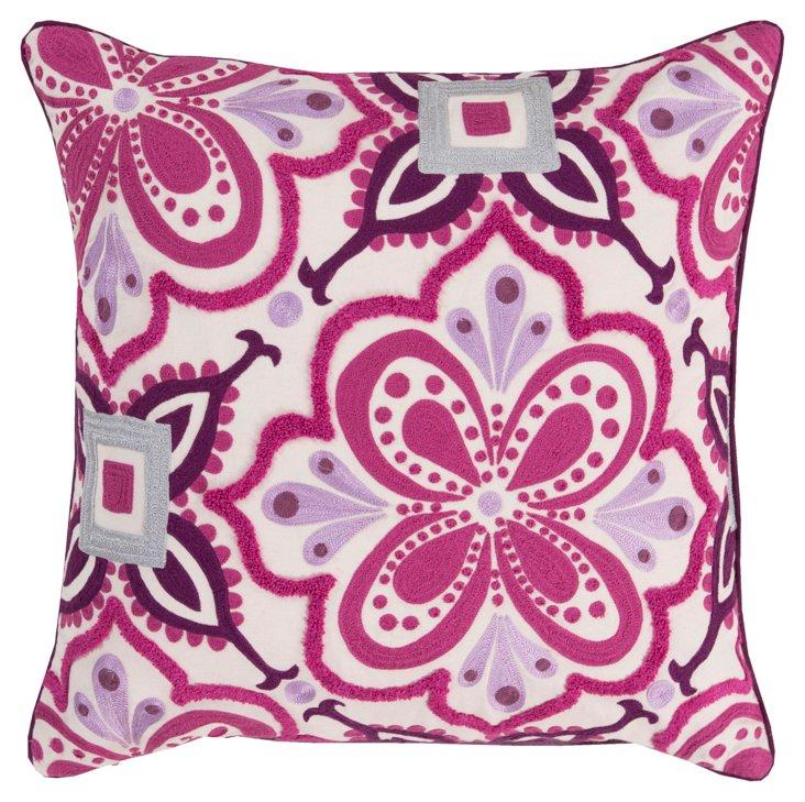 Patchwork 20x20 Cotton Pillow, Purple