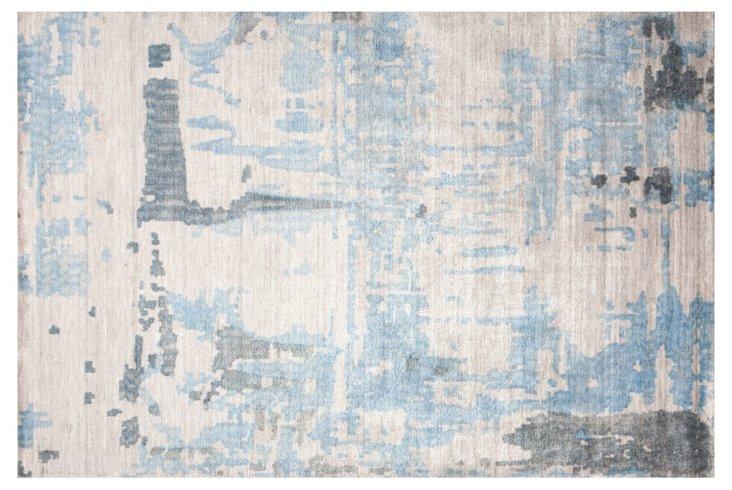 5'x8' Tarim Bamboo Rug, Neutral/Blue