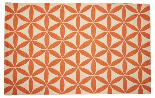 Brentwood Rug, Orange/Ivory