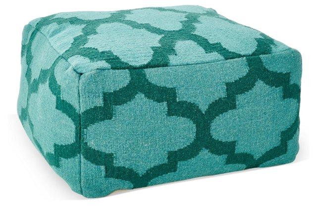 Lily Wool Cube Pouf, Green Trellis