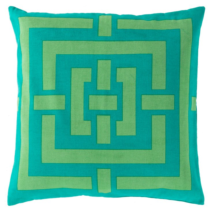 Maze 20x20 Cotton Pillow, Green