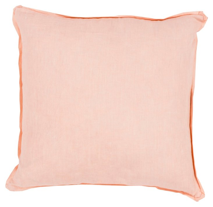 Coral Linen Pillow, Rose