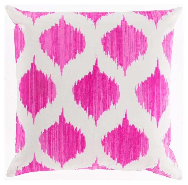 Orchid 18x18 Cotton Pillow, Pink/White