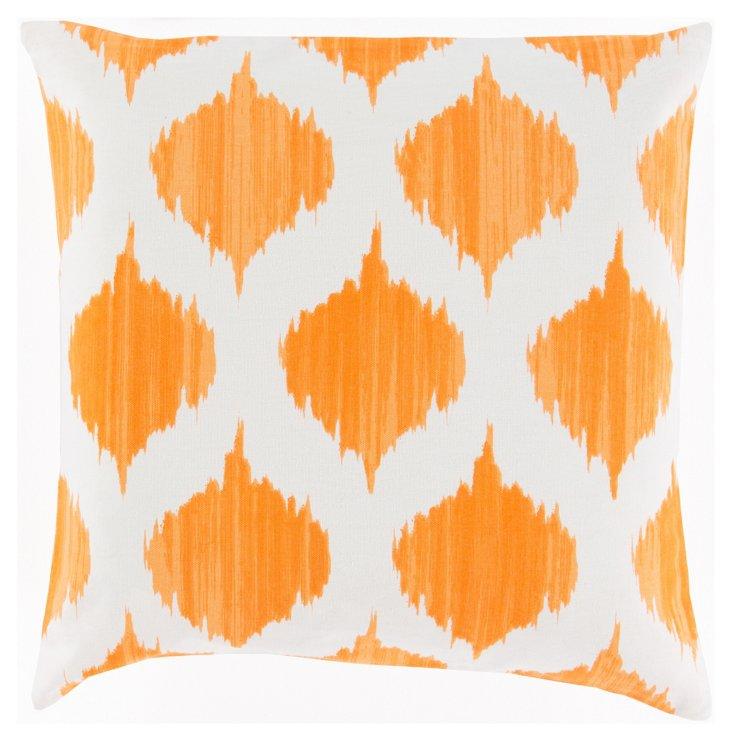 Ikat Cotton Pillow, Orange