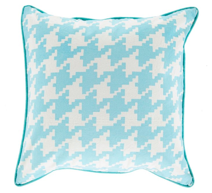 Houndstooth Cotton Pillow, Blue