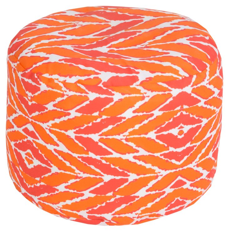 Lyman Outdoor Pouf, Coral/Orange