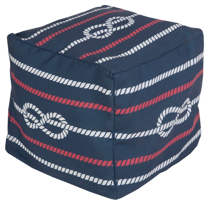Sailor Outdoor Pouf, Navy/Red