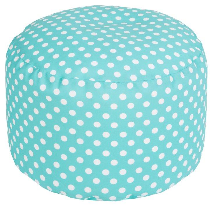 Polka Outdoor Dot Pouf, Turquoise