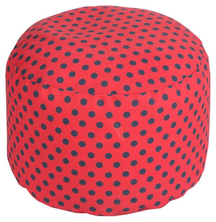 Polka Dot Outdoor Pouf, Red