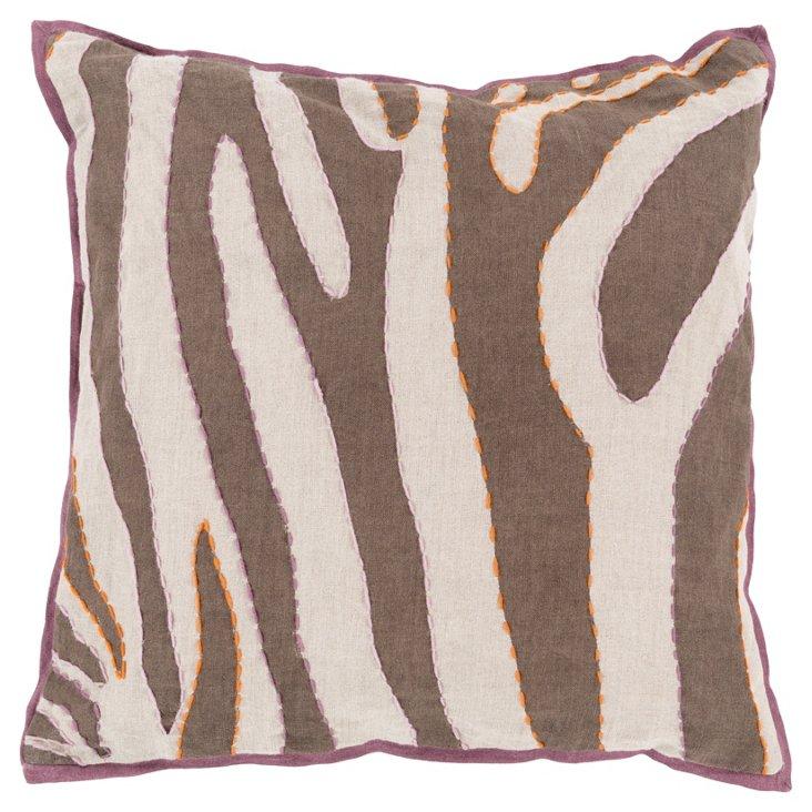 Zebra Linen Pillow, Brown