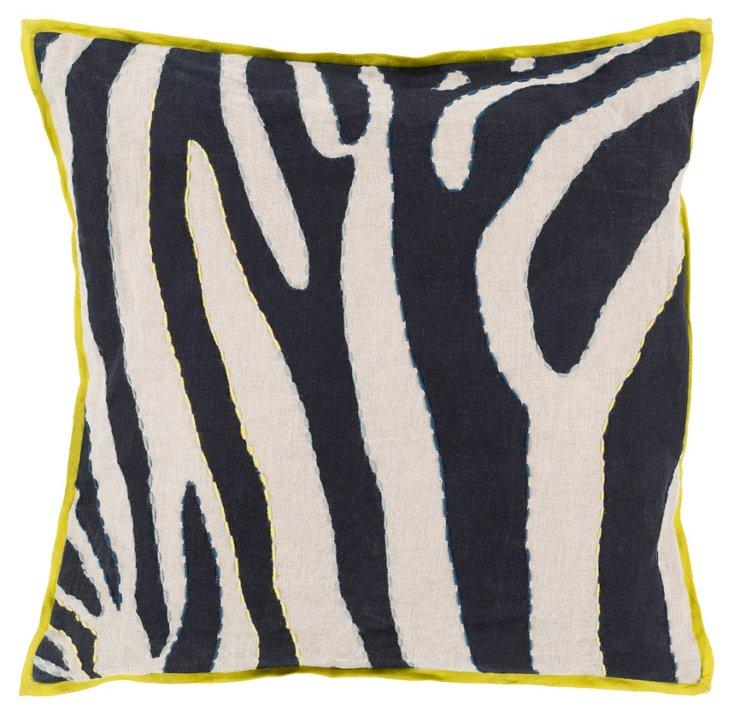Zebra Linen Pillow, Navy/Lime