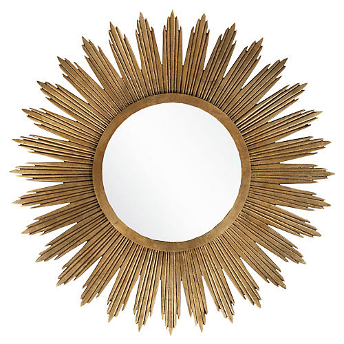 "Starburst 47"" Oversize Mirror, Gold"