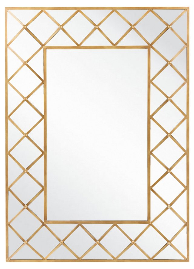 Rectangular Deco Oversize Mirror, Gold