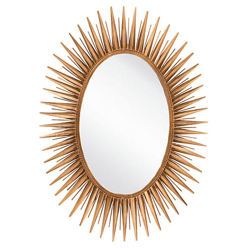 "Oval 30""x42"" Starburst Wall Mirror, Gold"