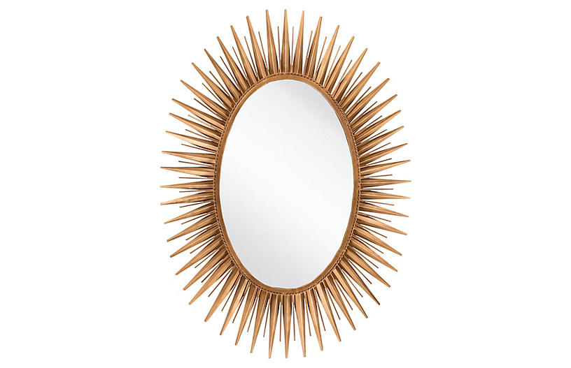 Oval Starburst Wall Mirror, Gold