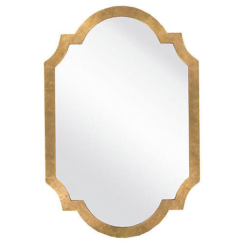 "Quatrefoil 30""x45"" Oversize Mirror, Gold"