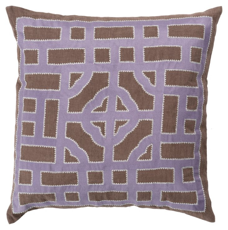 Tiled Linen Pillow, Purple