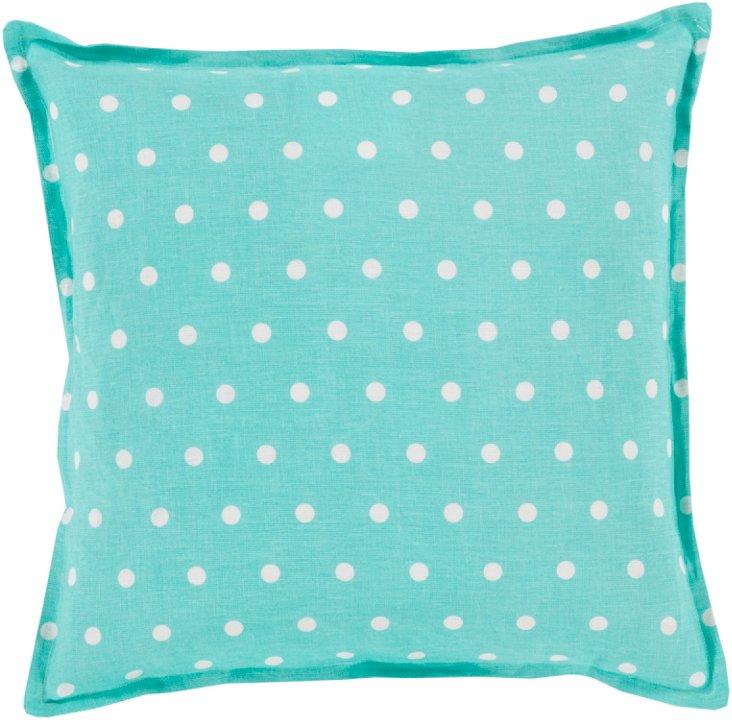 Dots Linen Pillow, Aqua